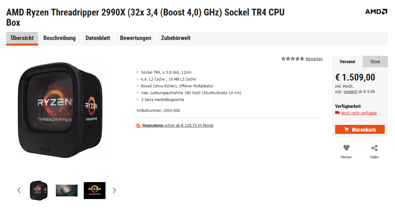 AMD Ryzen Threadripper 2990X Preis Price