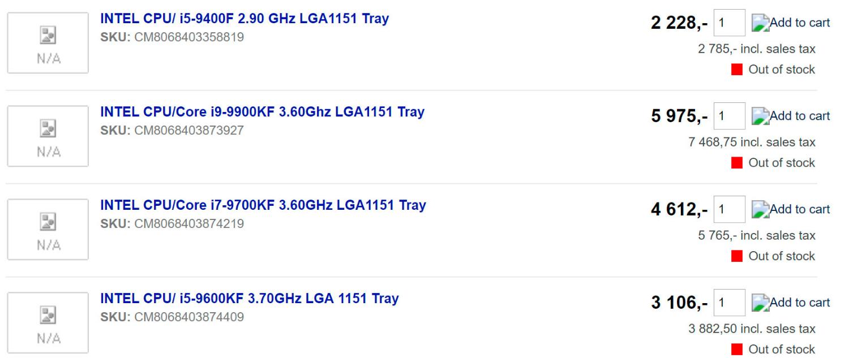 Intel Core i9-9900KF i7-9700KF i5-9600KF i5-9400F