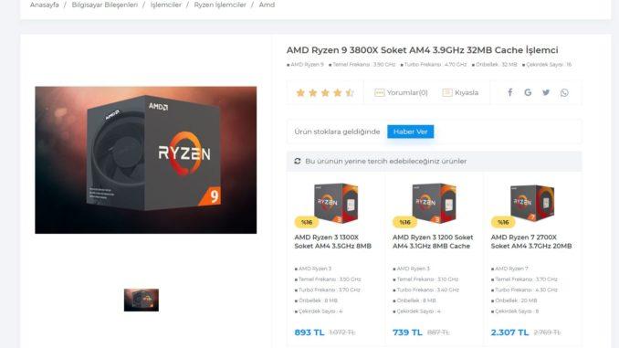 AMD Ryzen 9 3800X, Ryzen 7 2700X and Ryzen 5 3600X listed