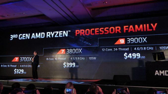 Ryzen 3000 Launch Prices Ryzen 9 3900X Ryzen 7 3800X Ryzen7 3700X