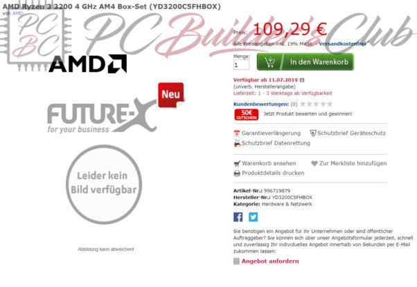 Ryzen 3000: Ryzen 5 3600 and Picasso APUs listed at German retailer