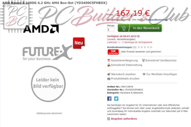 AMD Ryzen 5 3400G Price Leak PCBC