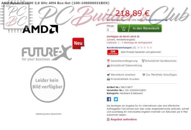 AMD Ryzen 5 3600 Price Leak PCBC