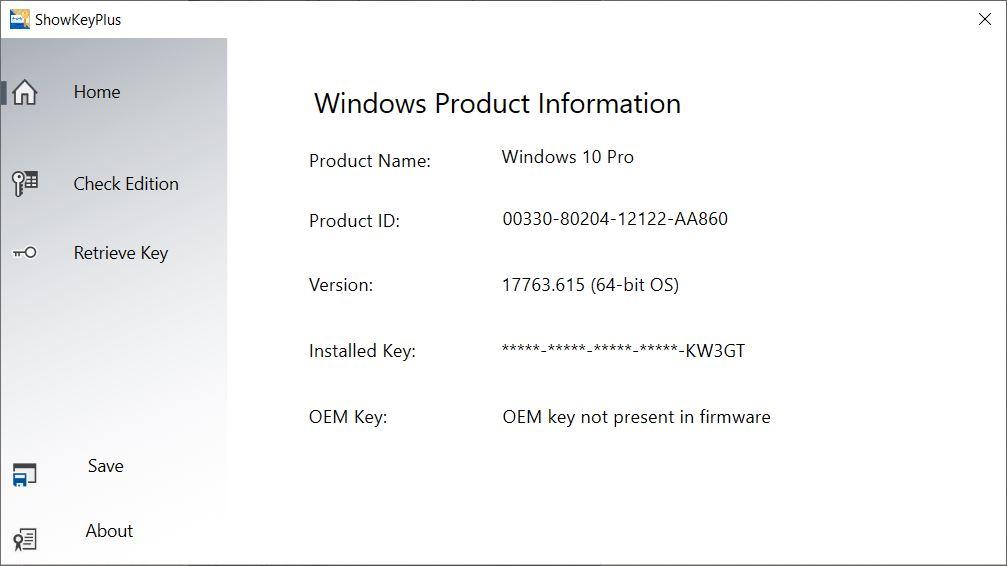 MMOGA Windows 10 Pro ShowKeyPlus