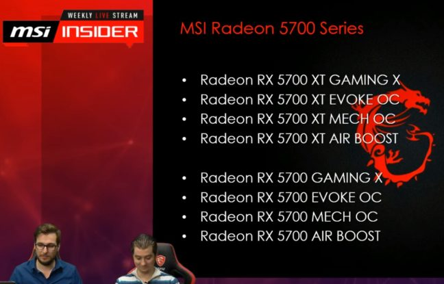 MSI Radeon RX 5700 Series Übersicht