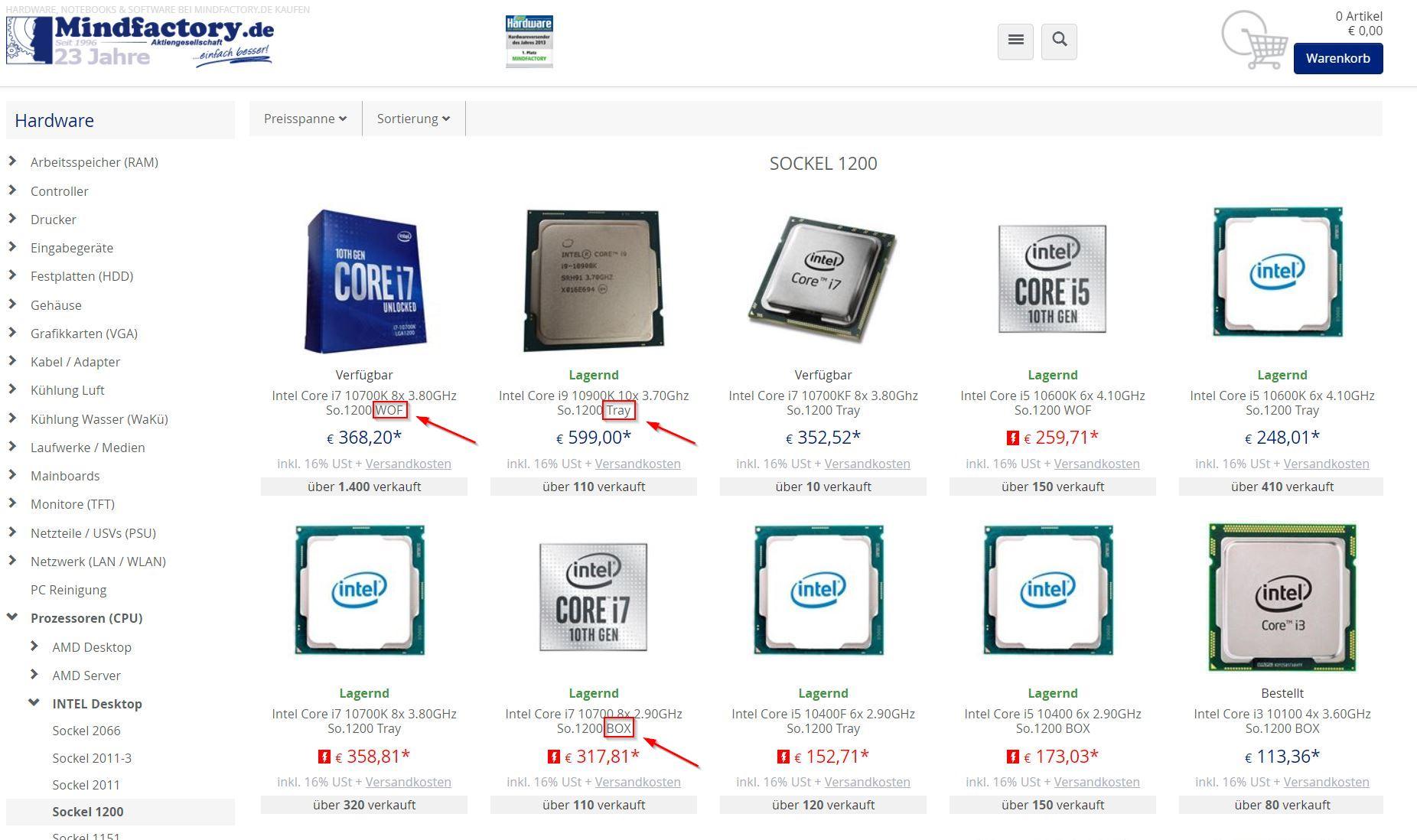 Tray CPUs und Boxed CPUs und WOF CPUs Prozessoren bei Mindfactory