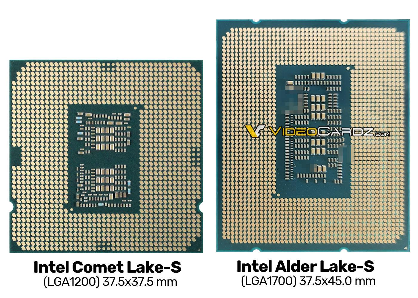 Intel Alder Lake-S LGA-1700 Vergleich mit LGA-1200 Comet Lake-S
