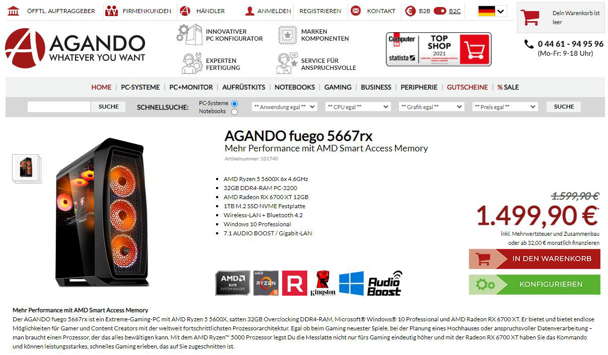 Agando fuego 5667rx Fertig-PC